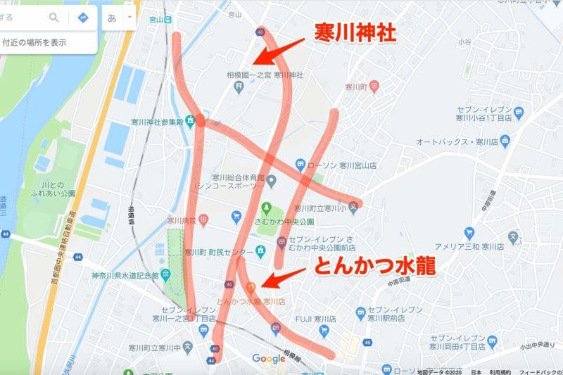 初詣時期の寒川神社周辺の渋滞